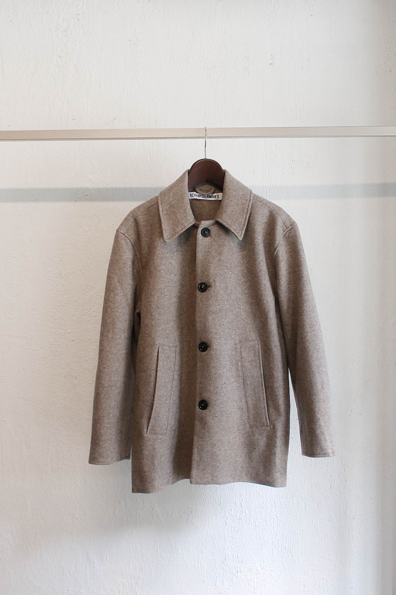 [SCHNAYDERMAN'S] Jacket Melton Wool - Dark Beige Melange