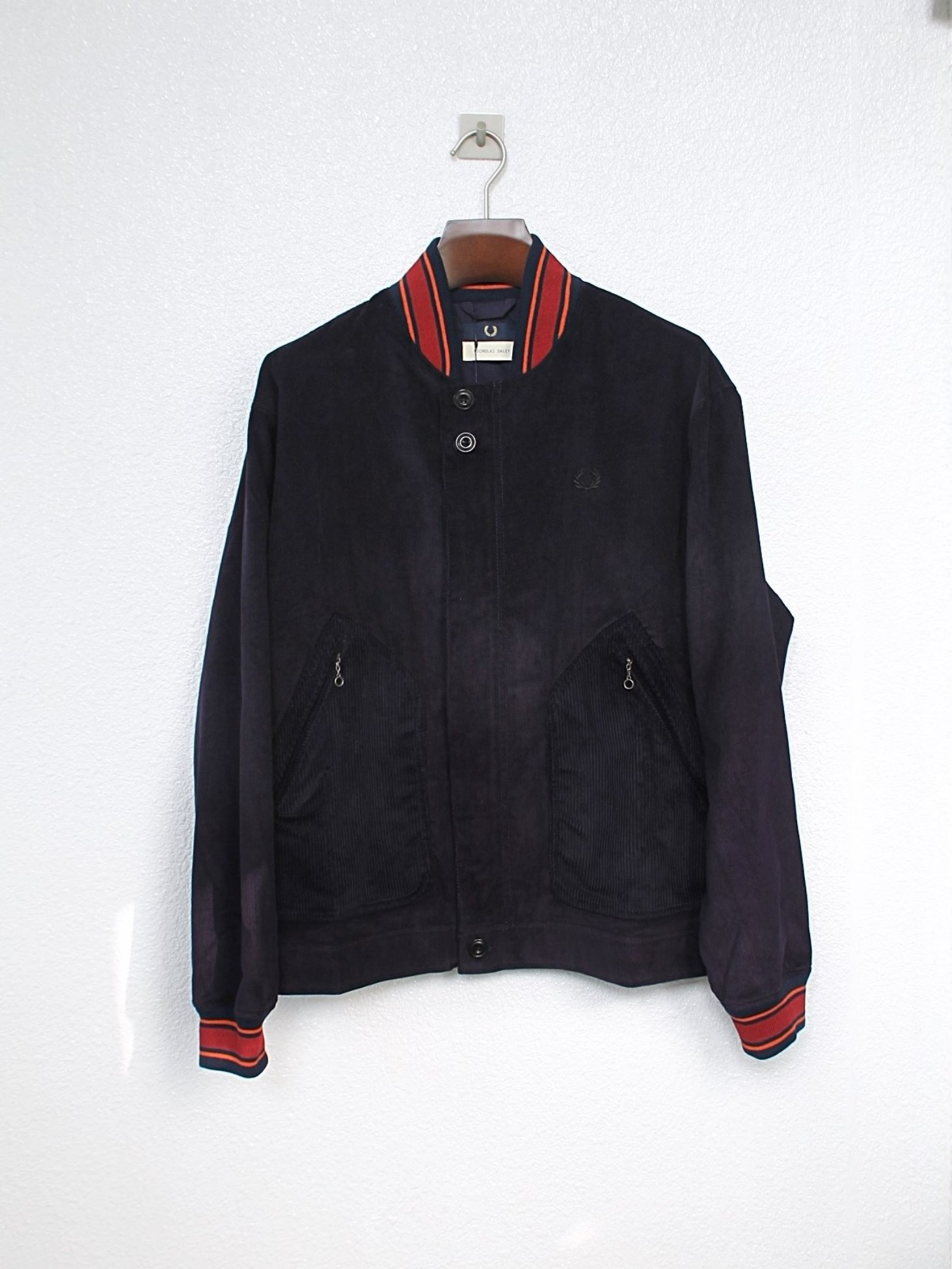 [FRED PERRY X NICHOLAS DALEY] Corduroy Bomber Jacket - Carbon Blue