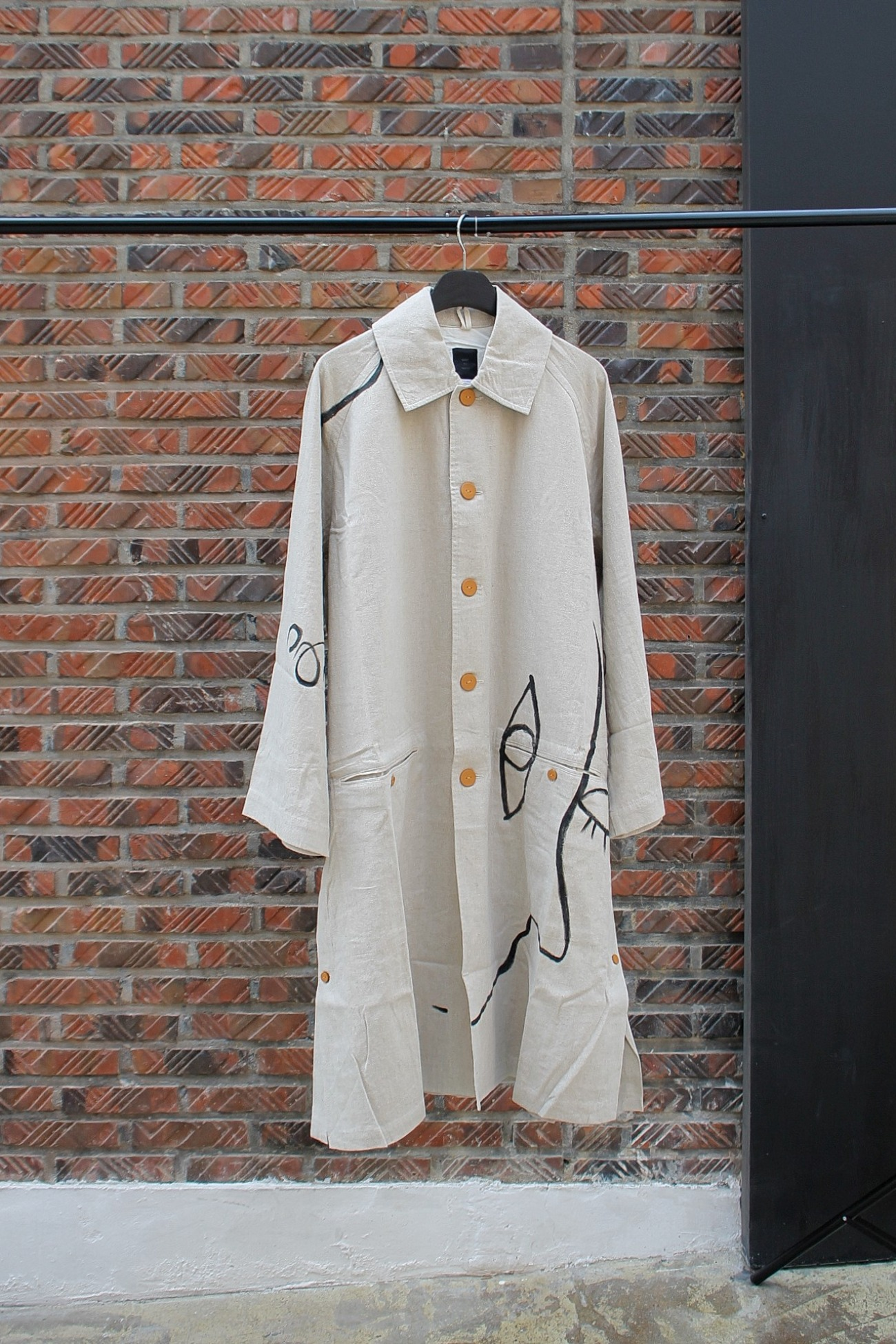 [EASY TO WEAR] Linen Canvas Coat - Natural / Drawing