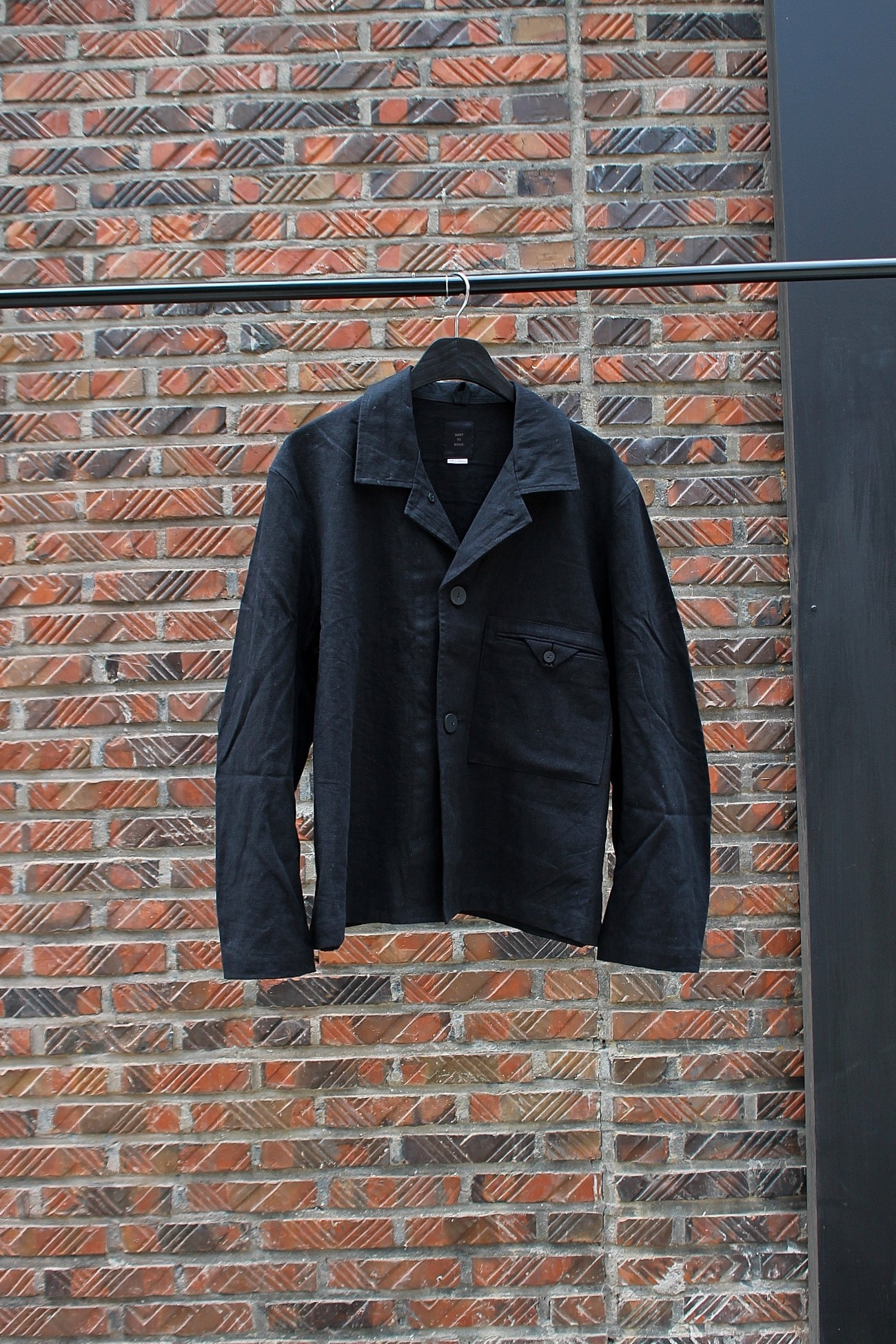 [EASY TO WEAR] Linen Canvas Jacket - Black