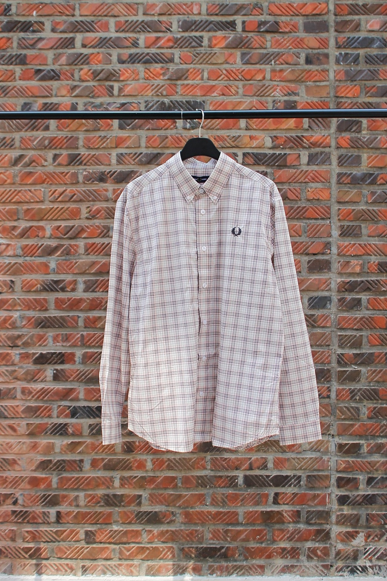[FRED PERRY] Small Check Shirt - Silver Pink