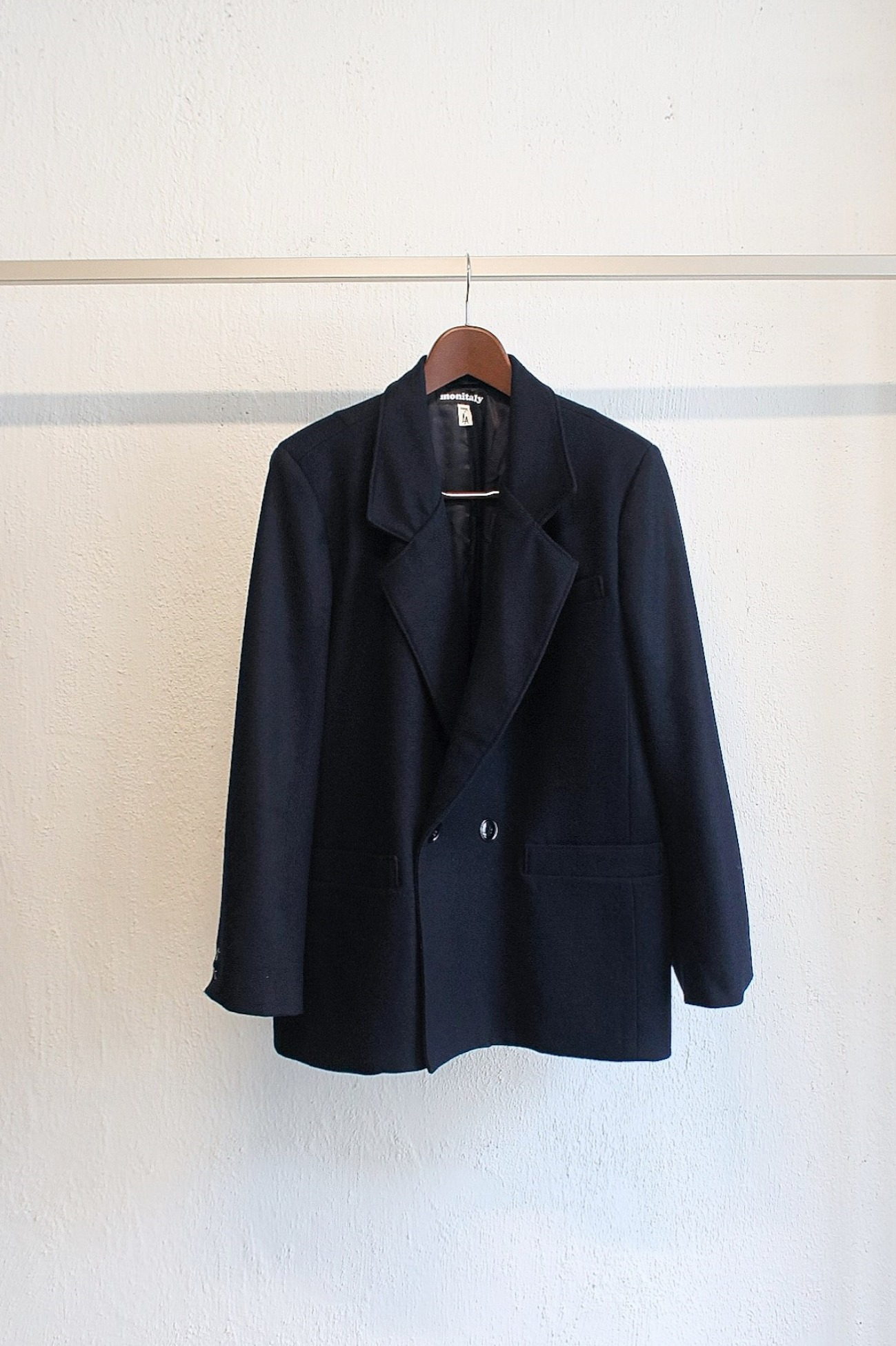 [Monitaly] Mickey Jacket - Wool Flannel Solid Navy